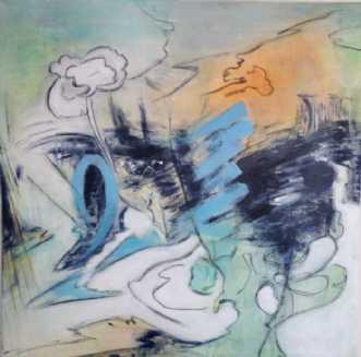 Blue Scripple by Birgit Langborg | maleri