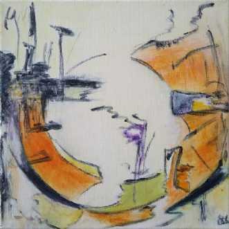 Orange Circle by Birgit Langborg | maleri