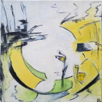 Yellow Circle by Birgit Langborg | maleri