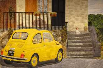 Den gule Fiat 500 by Tina Sommer Paaske | tekstilkunst