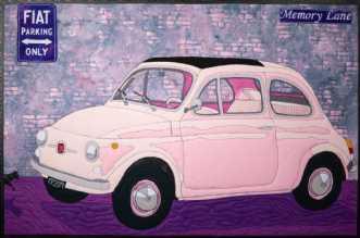 Den lyserøde Fiat by Tina Sommer Paaske | tekstilkunst