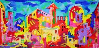 Huse 1 by Daisy Dahl | maleri