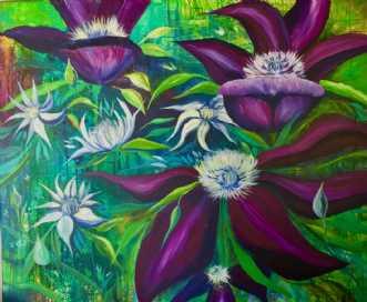 Klematis by Eva Vig | maleri