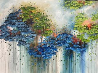 Blå Blomster by Eva Vig | maleri