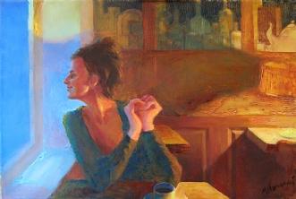 I caféen. Helsingør.. by Misha Lapitskiy | maleri