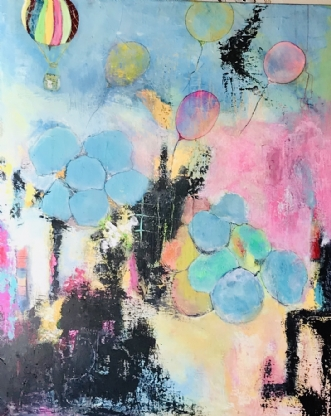 Bubbles and balloon.. by Alice Dønns | maleri