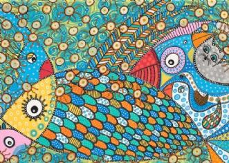 De Seks Fugle Der T.. by BAKAOS | maleri