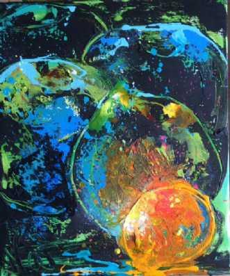 sorte æbler by Natawatts | maleri