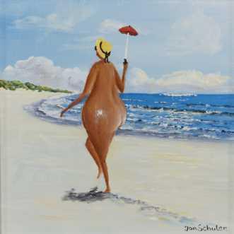 Mette på stranden by Jan Schuler | maleri