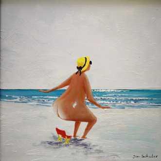 Mette og strandstol.. by Jan Schuler | maleri