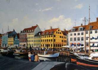 Familiehygge i Nyha.. by Jan Schuler | maleri