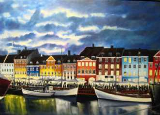 Nyhavn by night by Jan Schuler | maleri