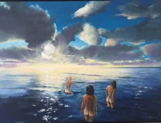 Tre gartier i aften.. by Jan Schuler | maleri