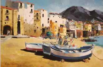 Sicilien Filserbåde by Holger Poulsen | maleri