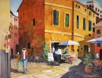 Baren i Trastévere by Holger Poulsen | maleri
