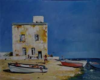 Sicilien Fiskerbåde by Holger Poulsen | maleri