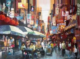 Chinatownshopping by Holger Poulsen | maleri
