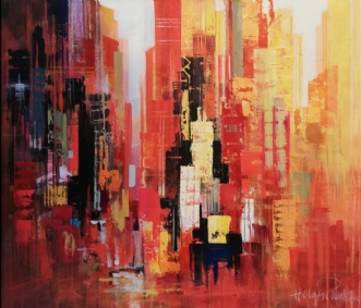 Manhattan Red II by Holger Poulsen | maleri
