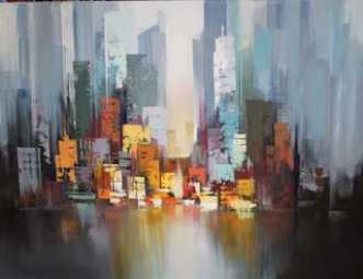 Hudson River Skylin.. by Holger Poulsen | maleri