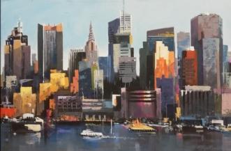 Manhattan, Hudson r.. by Holger Poulsen | maleri