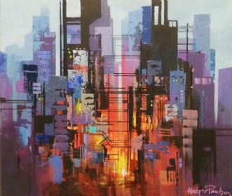 Manhattan, Construc.. by Holger Poulsen | maleri