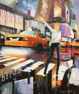 Manhattan Taxi by Holger Poulsen | maleri