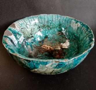 Raku skål med kobbe.. by Nina Hansen | keramik