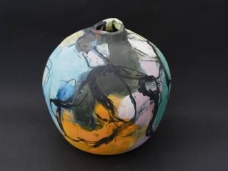 Vase malet med glasur. Stentøj.afNina Hansen