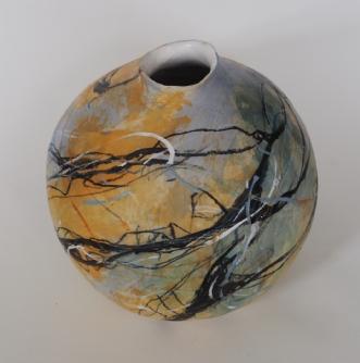 Stentøjskrukke, malet med glasur.afNina Hansen