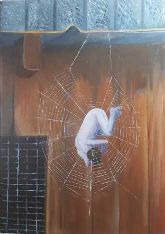 'Fanget - fortid, n.. by Britta Ortiz | maleri