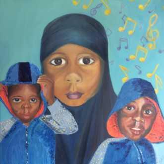 Tre i en by Britta Ortiz | maleri