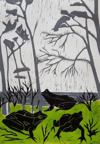 'Frøer i det grønne.. by Britta Ortiz | maleri