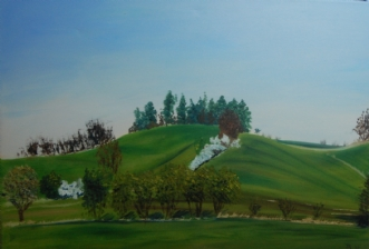 Forår på Tuse Næs v.. by Britta Ortiz | maleri