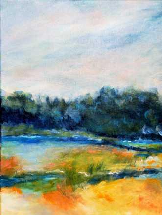 Nr. 395 Når blåt..... by Helle Lundsgaard Christensen | maleri