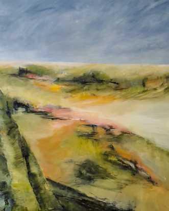 445 Ud i det grønne by Helle L. Christensen | maleri