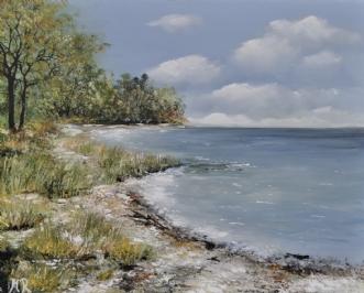 langs vandet by Merete Roy | maleri