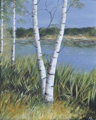 Tæt på søen by Merete Roy | maleri
