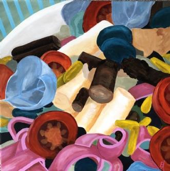 Pink pasta by Elsebeth Altschuler | maleri
