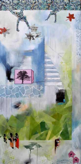 Træ i lyserød kasse by Elsebeth Altschuler | maleri