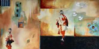 2 Munke by Elsebeth Altschuler | maleri