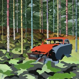 Bil i Ryd by Elsebeth Altschuler | maleri