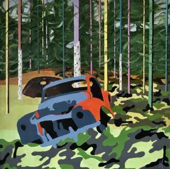 2 biler i Ryd by Elsebeth Altschuler | maleri