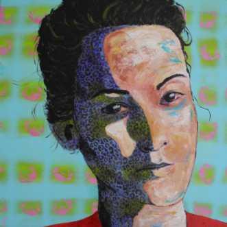 Kvinde med rød blus.. by Elsebeth Altschuler | maleri