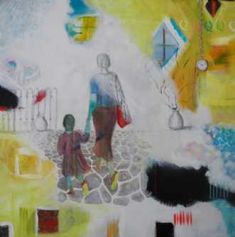 Mor og barn by Elsebeth Altschuler | maleri