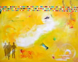 3 løbere i gult by Elsebeth Altschuler | maleri