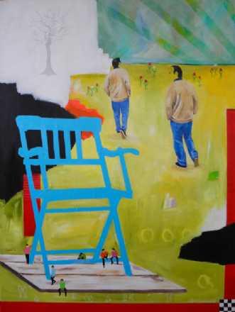 Blå stol by Elsebeth Altschuler | maleri