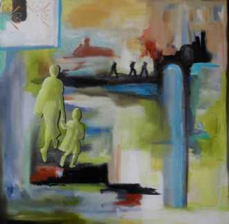 Mor og barn i grønt by Elsebeth Altschuler | maleri