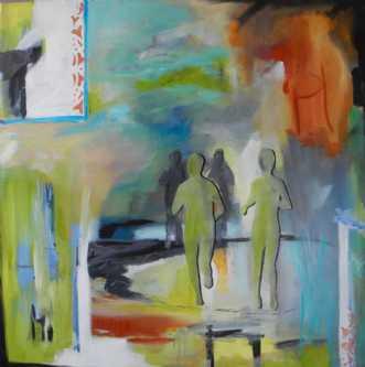 4 løbere i grønt by Elsebeth Altschuler | maleri