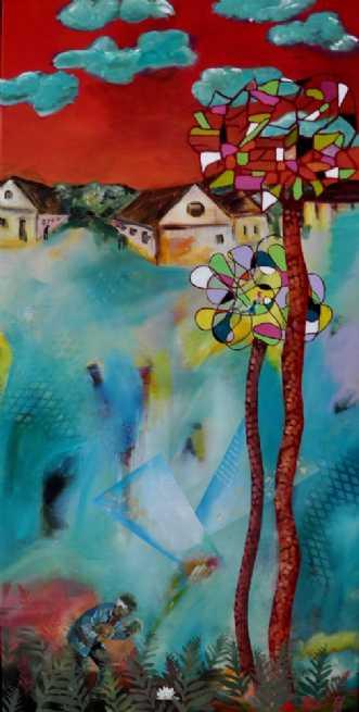 2 træer by Elsebeth Altschuler | maleri