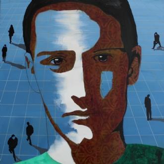 Ung mand i grøn T-s.. by Elsebeth Altschuler | maleri